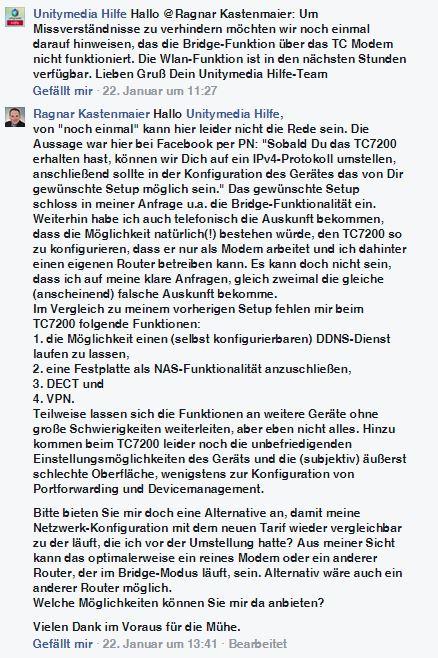 Unitymedia Facebook TC7200-Bridge-Modus